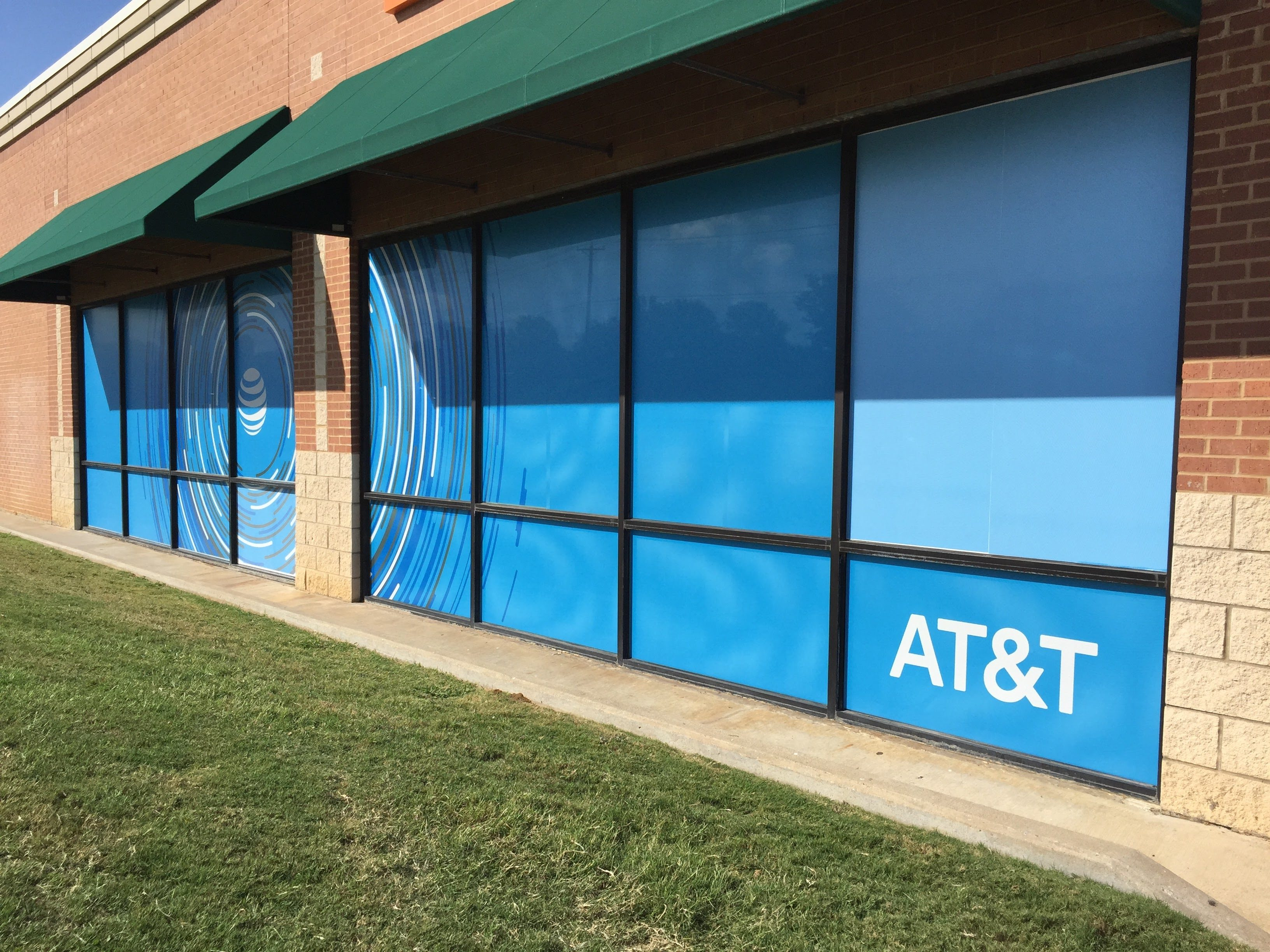 exterior window at at&t with custom vinyl signage